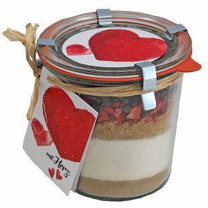 Backmischung Im Glas Erdbeer Schoko Kuchen Mit Herz
